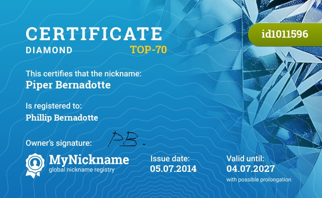Certificate for nickname Piper Bernadotte is registered to: Phillip Bernadotte