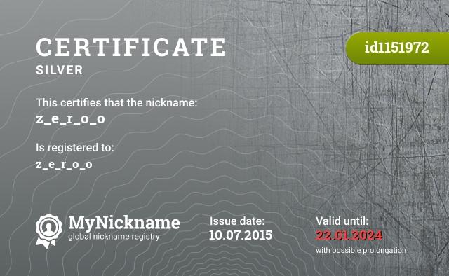 Certificate for nickname z_e_r_o_o is registered to: z_e_r_o_o
