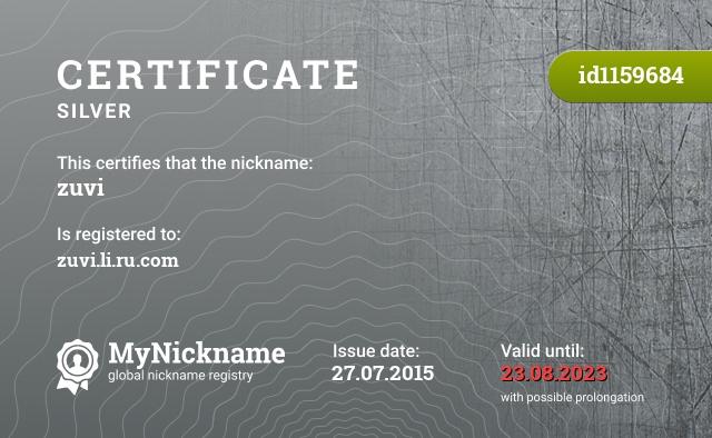 Certificate for nickname zuvi is registered to: zuvi.li.ru.com