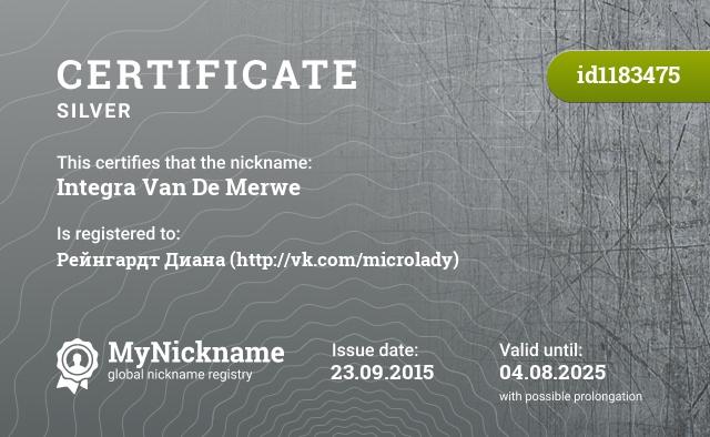 Certificate for nickname Integra Van De Merwe is registered to: Рейнгардт Диана (http://vk.com/microlady)