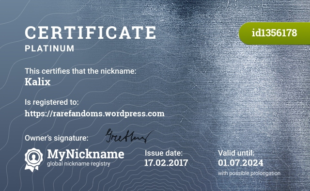 Certificate for nickname Kalix is registered to: https://rarefandoms.wordpress.com