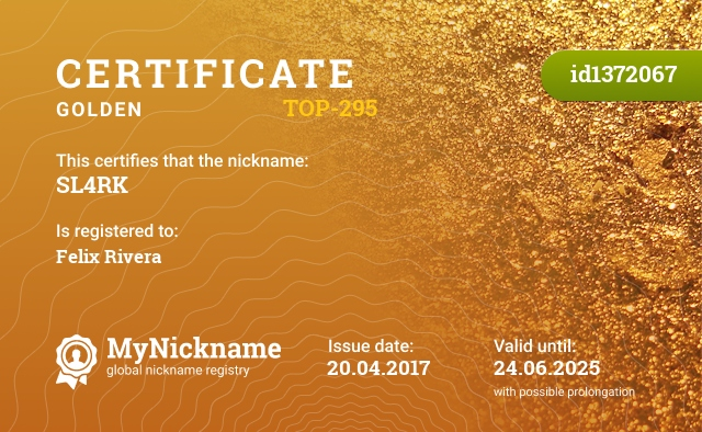 Certificate for nickname SL4RK is registered to: Felix Rivera