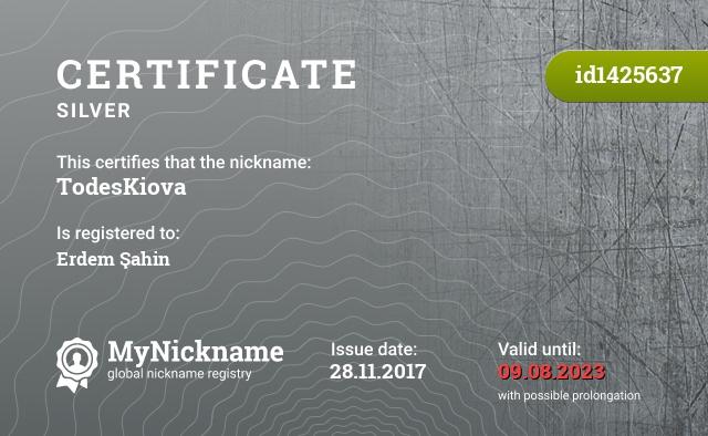 Certificate for nickname TodesKiova is registered to: Erdem Şahin