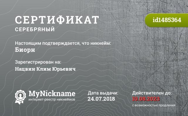 Сертификат на никнейм Биорн, зарегистрирован на Нацвин Клим Юрьевич