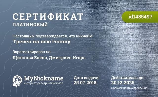 Сертификат на никнейм Тревел на всю голову, зарегистрирован на Щипкова Елена, Дмитриев Игорь