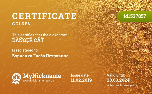 Certificate for nickname ĎÃŇĞẸŘ ČÃŤ is registered to: Борненко Глеба Петровича