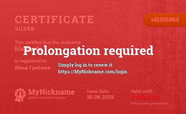 Certificate for nickname lilsmyrfy is registered to: Илья Граблин
