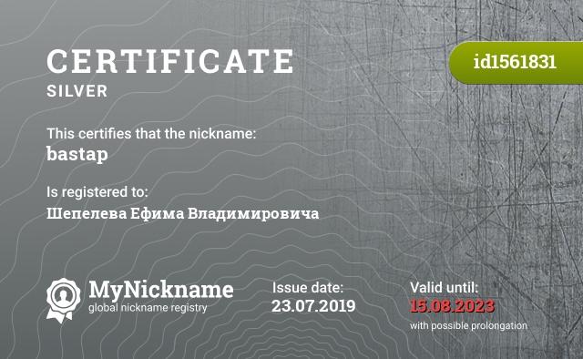 Certificate for nickname bastap is registered to: Шепелева Ефима Владимировича