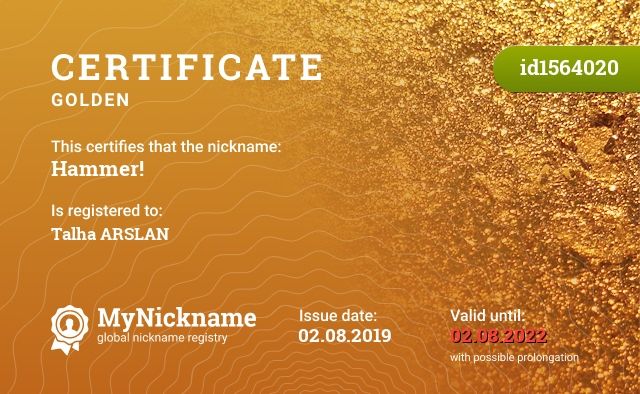 Certificate for nickname Hammer! is registered to: Talha ARSLAN