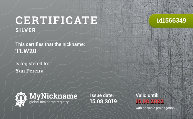 Certificate for nickname TLW20 is registered to: Yan Pereira