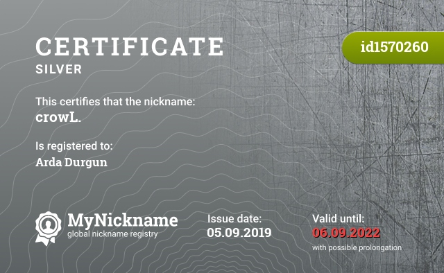 Certificate for nickname crowL. is registered to: Arda Durgun