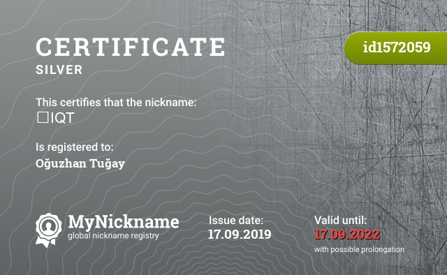 Certificate for nickname ⭐IQT is registered to: Oğuzhan Tuğay