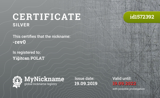 Certificate for nickname -rev0 is registered to: Yiğitcan POLAT