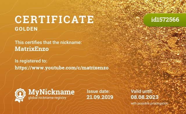 Certificate for nickname MatrixEnzo is registered to: https://www.youtube.com/c/matrixenzo