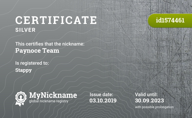 Certificate for nickname Paynoce Team is registered to: Stappy