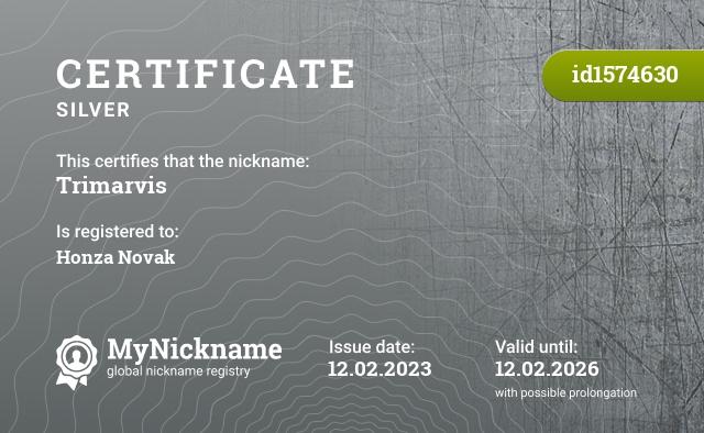 Certificate for nickname Trimarvis is registered to: Marek Jeneš