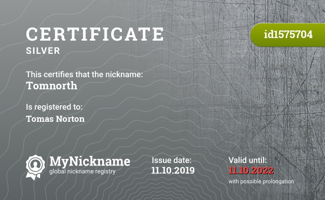 Certificate for nickname Tomnorth is registered to: Tomas Norton