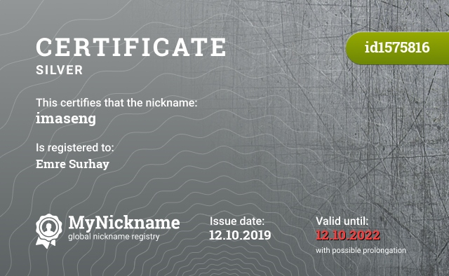 Certificate for nickname imaseng is registered to: Emre Surhay