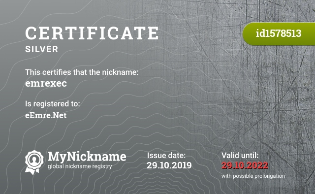 Certificate for nickname emrexec is registered to: eEmre.Net