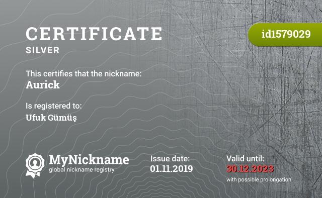 Certificate for nickname Aurick is registered to: Ufuk Gümüş