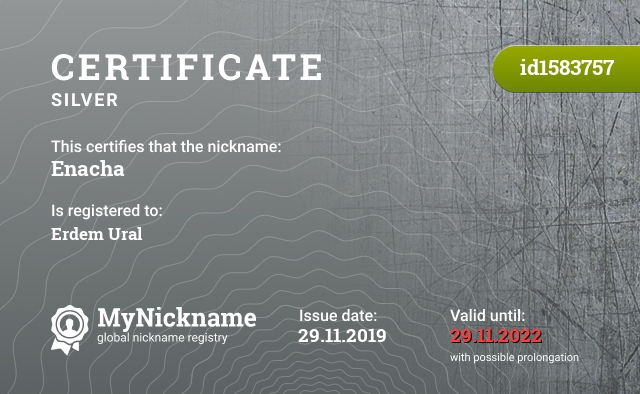 Certificate for nickname Enacha is registered to: Erdem Ural