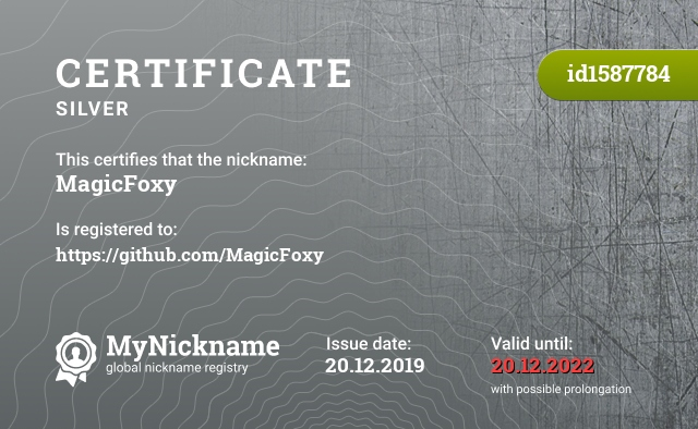 Certificate for nickname MagicFoxy is registered to: https://github.com/MagicFoxy