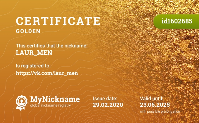 Certificate for nickname LAUR_MEN is registered to: https://vk.com/laur_men