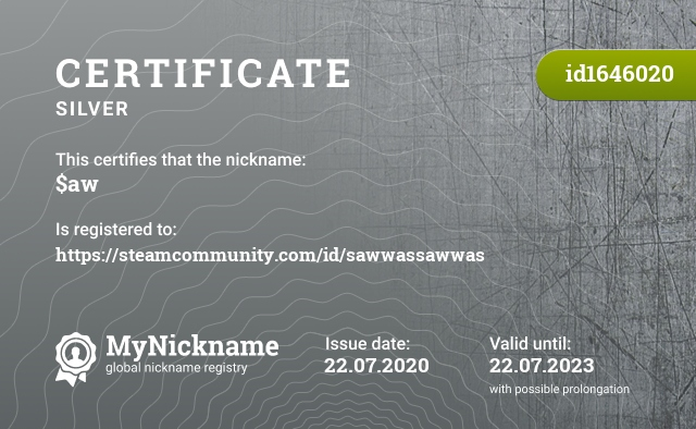Certificate for nickname $aw is registered to: https://steamcommunity.com/id/sawwassawwas