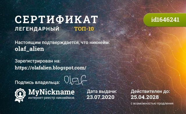 Certificate for nickname olaf_alien, is registered to: https://olafalien.blogspot.com/