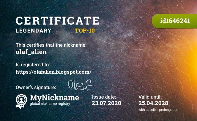 Certificate for nickname olaf_alien is registered to: https://olafalien.blogspot.com/