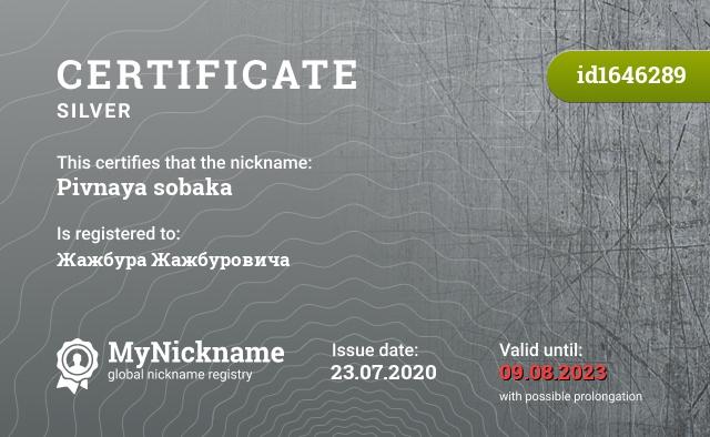 Certificate for nickname Pivnaya sobaka is registered to: Жажбура Жажбуровича