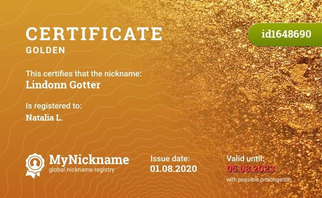Certificate for nickname Lindonn Gotter is registered to: Natalia L.