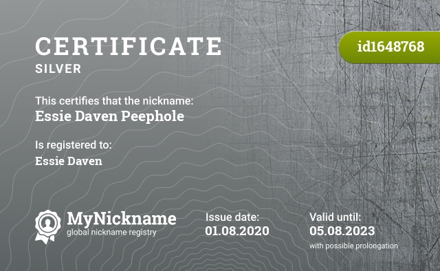 Certificate for nickname Essie Daven Peephole is registered to: Essie Daven