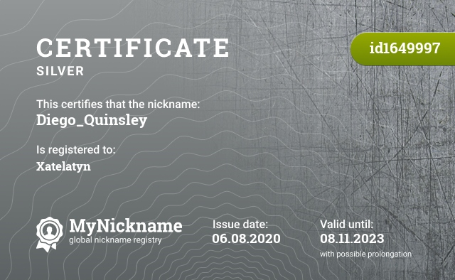 Certificate for nickname Diego_Quinsley is registered to: Xatelatyn