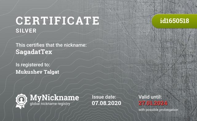 Certificate for nickname SagadatTex is registered to: Mukushev Talgat