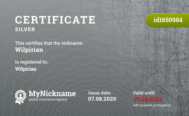 Certificate for nickname Wilpirian is registered to: Wilpirian