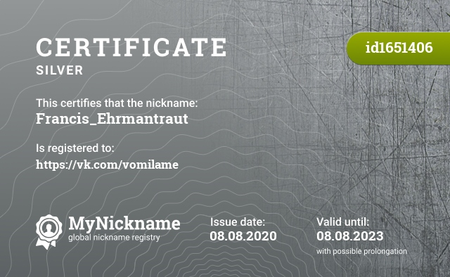 Certificate for nickname Francis_Ehrmantraut is registered to: https://vk.com/vomilame