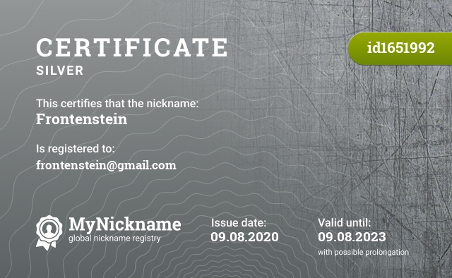 Certificate for nickname Frontenstein is registered to: frontenstein@gmail.com
