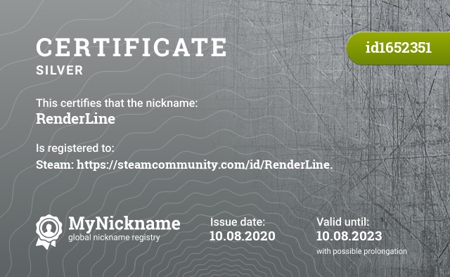 Certificate for nickname RenderLine is registered to: Steam: https://steamcommunity.com/id/RenderLine.