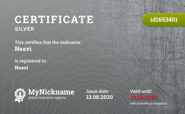 Certificate for nickname Neavi is registered to: Neavi