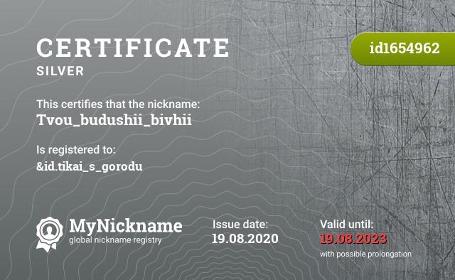 Certificate for nickname Tvou_budushii_bivhii is registered to: &id.tikai_s_gorodu
