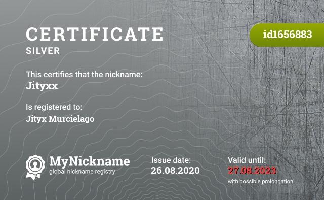 Certificate for nickname Jityxx is registered to: Jityx Murcielago