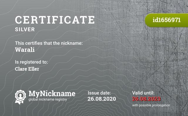 Certificate for nickname Warali is registered to: Clare Eller