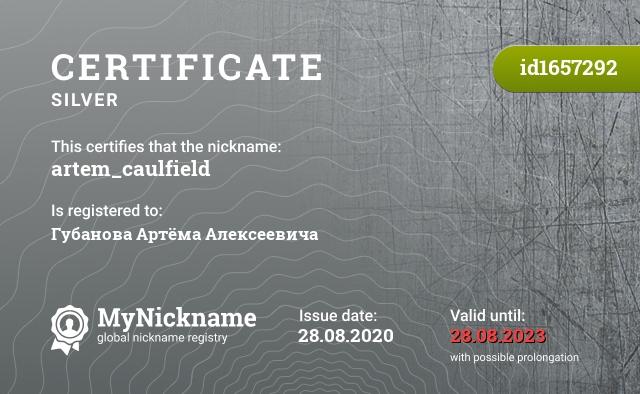 Certificate for nickname artem_caulfield is registered to: Губанова Артёма Алексеевича