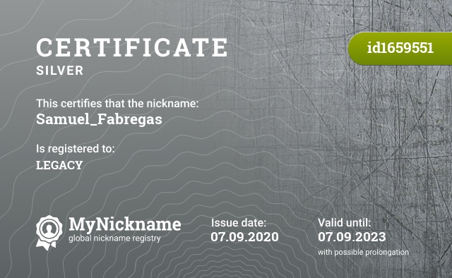 Certificate for nickname Samuel_Fabregas is registered to: LEGACY