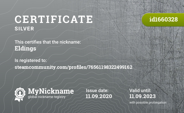 Certificate for nickname Eldings is registered to: steamcommunity.com/profiles/76561198322499162