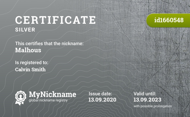 Certificate for nickname Malhous is registered to: Calvin Smith