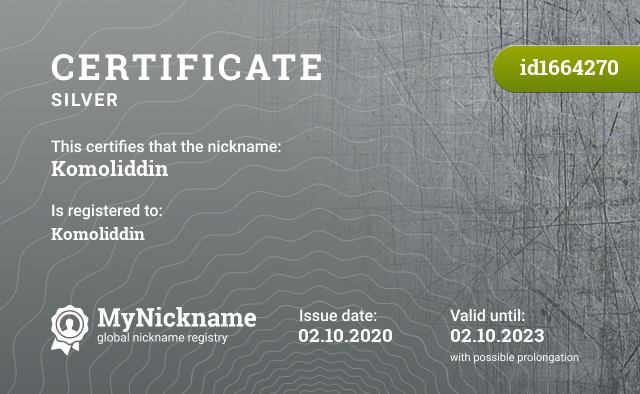 Certificate for nickname Komoliddin is registered to: Komoliddin