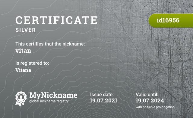 Certificate for nickname vitan is registered to: Vitana