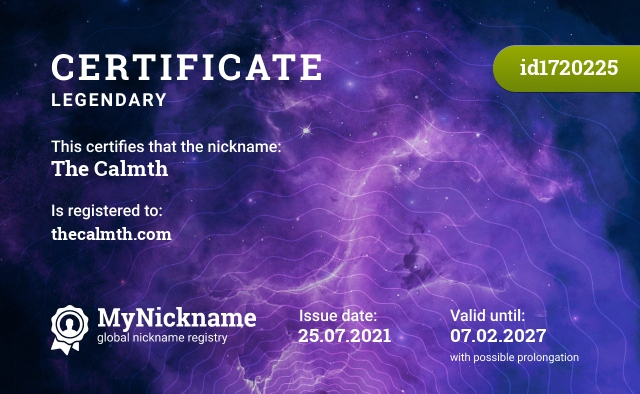 Certificate for nickname The Calmth, is registered to: thecalmth.com